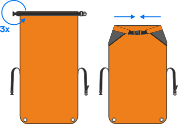 así se cierre la bolsa Aquapac impermeable mini para electrónica