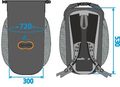 787 medidas mochila 100% estanca 15 litros