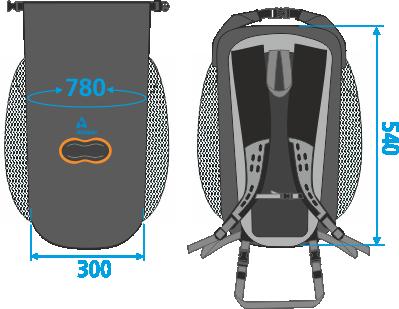 788 medidas mochila impermeable 25L